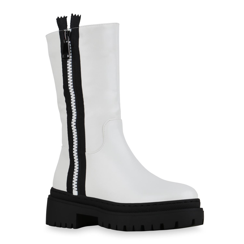Damen Stiefel Plateaustiefel - Weiß