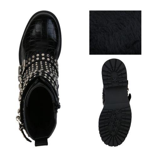 Damen Stiefeletten Biker Boots - Schwarz Kroko