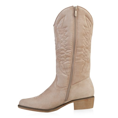 Damen Stiefel Cowboystiefel - Beige