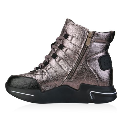 Damen Plateau Sneaker - Bronze