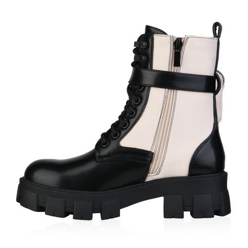 Damen Stiefeletten Plateau Boots - Schwarz Beige