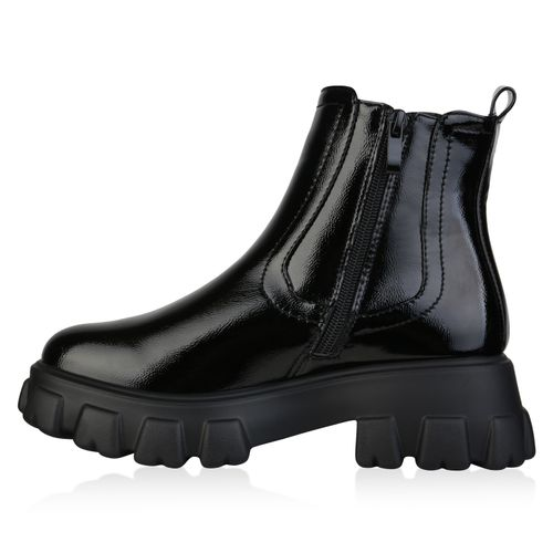 Damen Stiefeletten Plateau Boots - Schwarz Lack