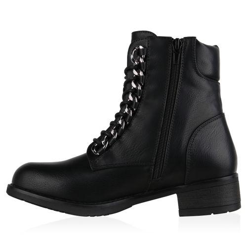 Damen Schnürstiefeletten Worker Boots - Schwarz
