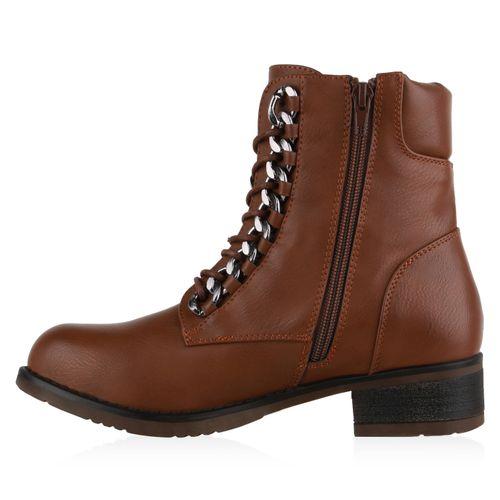 Damen Schnürstiefeletten Worker Boots - Hellbraun