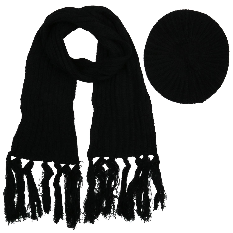 Damen Strickschal mit Mütze - Schwarz