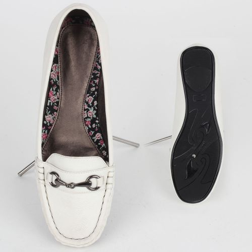 Damen Slippers Mokassins - Weiß