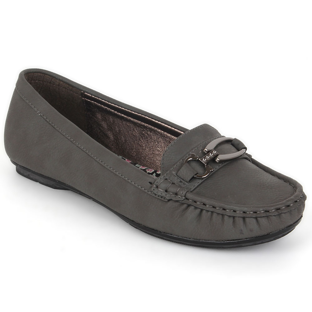 Damen Slippers Mokassins - Grau