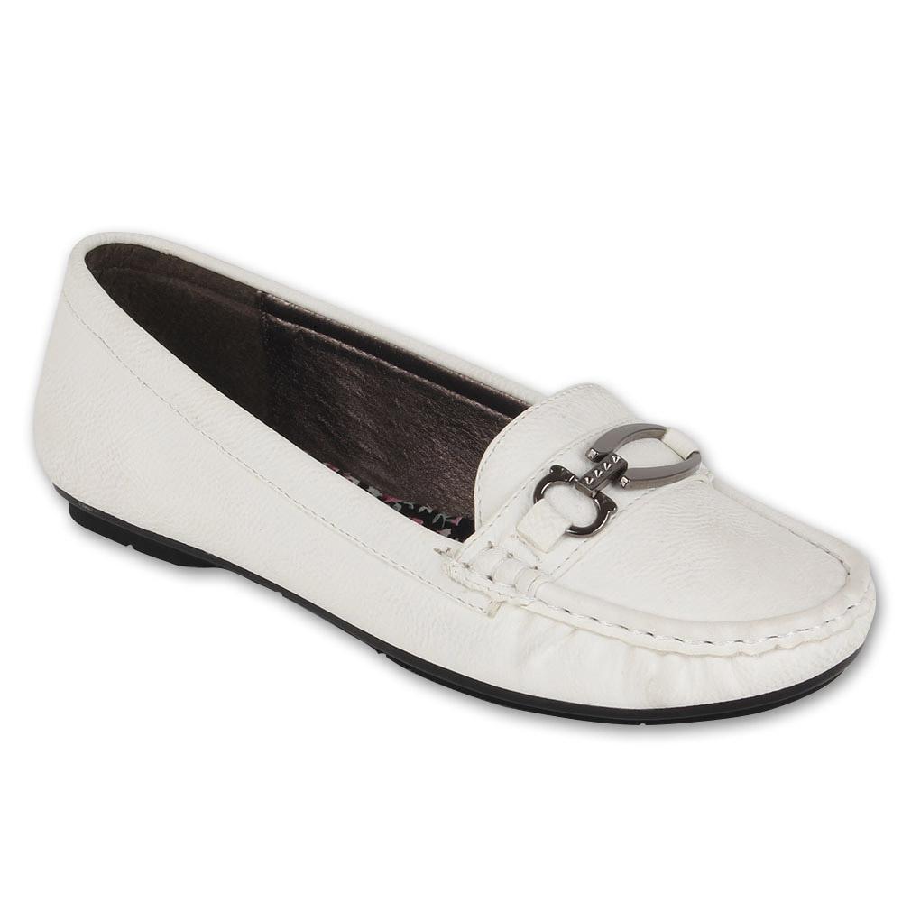 Damen Slippers Mokassins - Weiß