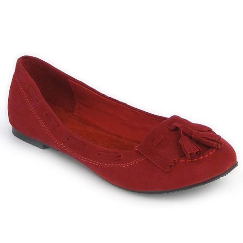 Damen Ballerinas Loafers - Rot