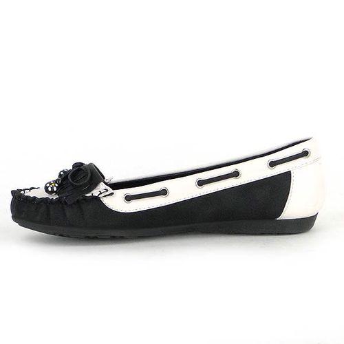 Damen Ballerinas Loafers - Schwarz Weiß