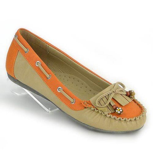 Damen Ballerinas Loafers - Apricot Orange