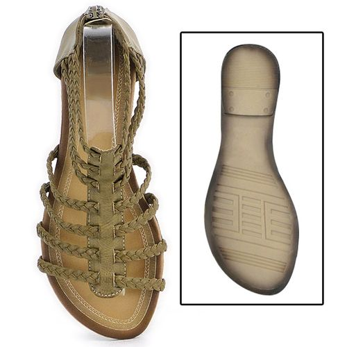 Damen Sandalen Ankle Boots - Khaki