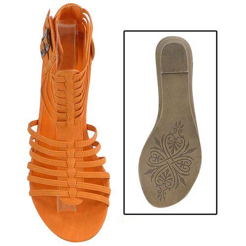 Damen Sandalen Ankle Boots - Orange