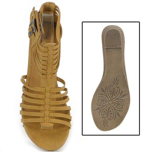 Damen Sandalen Ankle Boots - Hellbraun