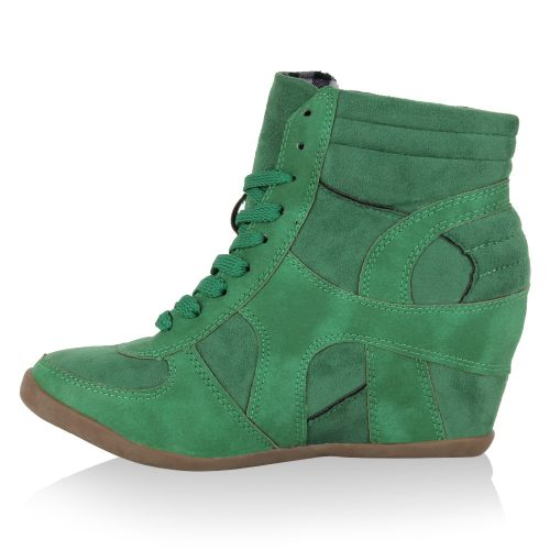 Damen Sneaker Wedges - Grün