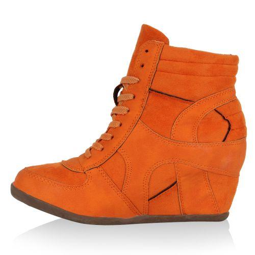 Damen Sneaker Wedges - Orange