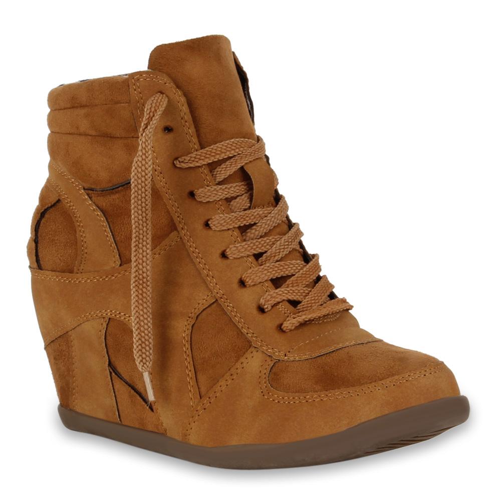Damen Sneaker Wedges - Hellbraun