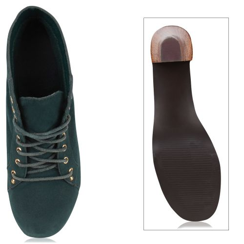 Damen Stiefeletten Plateau Boots - Grün