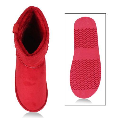 Damen Stiefeletten Schlupfstiefeletten - Rot