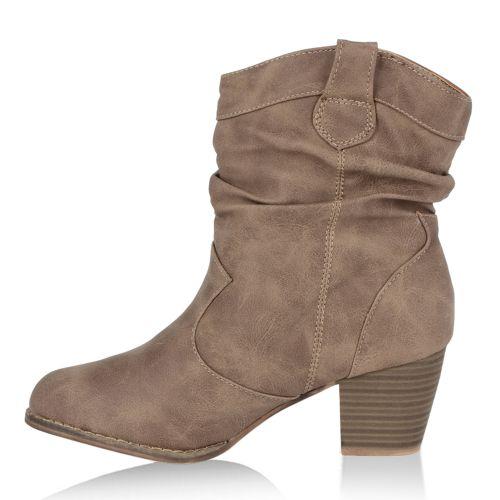 Damen Stiefel Cowboy Boots - Khaki