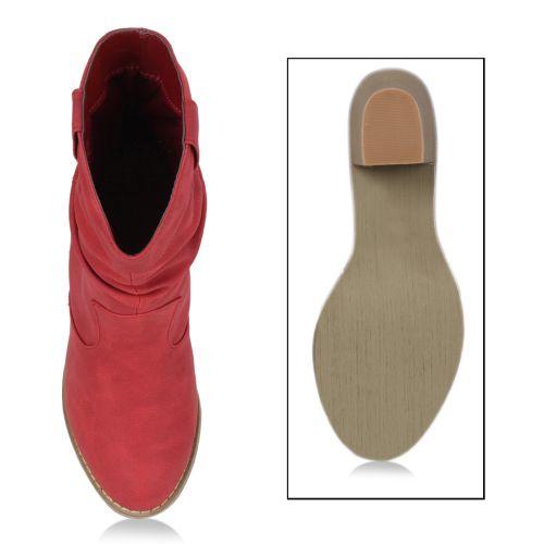 Damen Stiefel Cowboy Boots - Rot