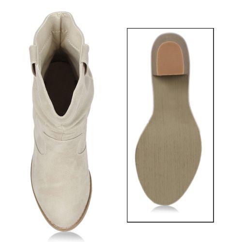 Damen Stiefel Cowboy Boots - Beige