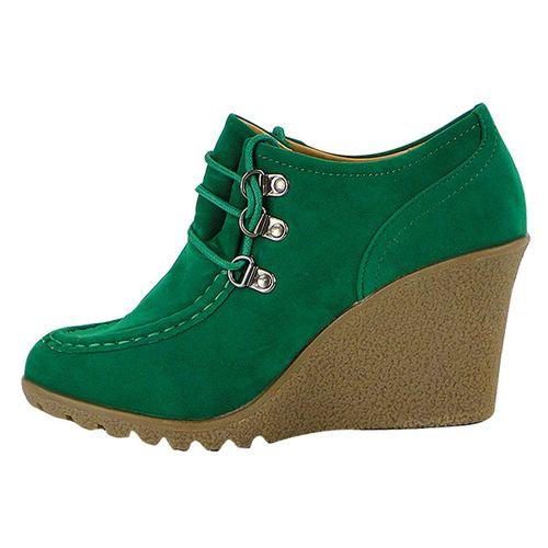 Damen Pumps Keilstiefeletten - Grün
