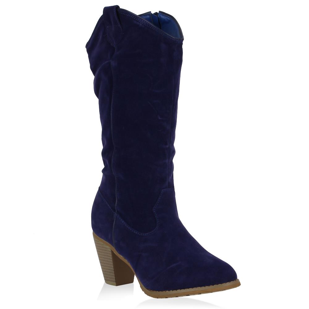 Damen Stiefel Cowboystiefel - Blau