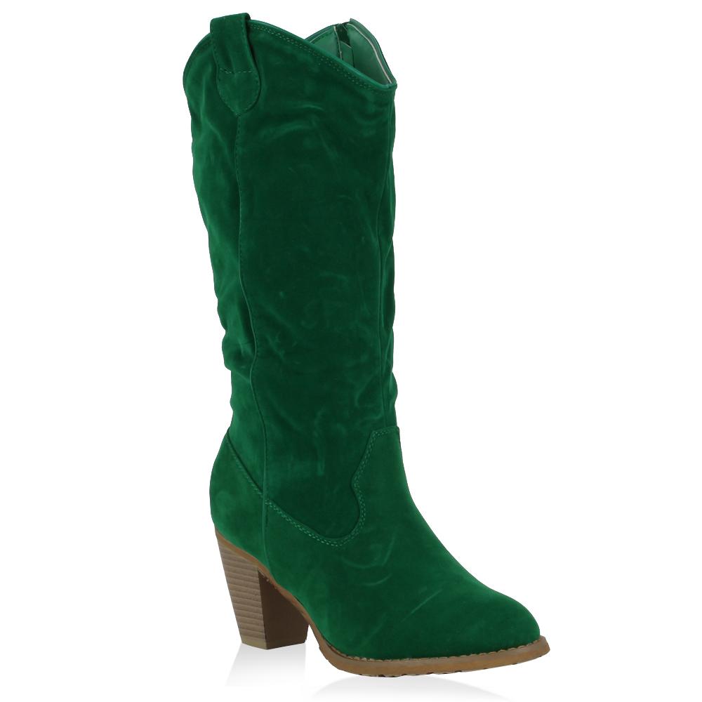 Damen Stiefel Cowboystiefel - Grün