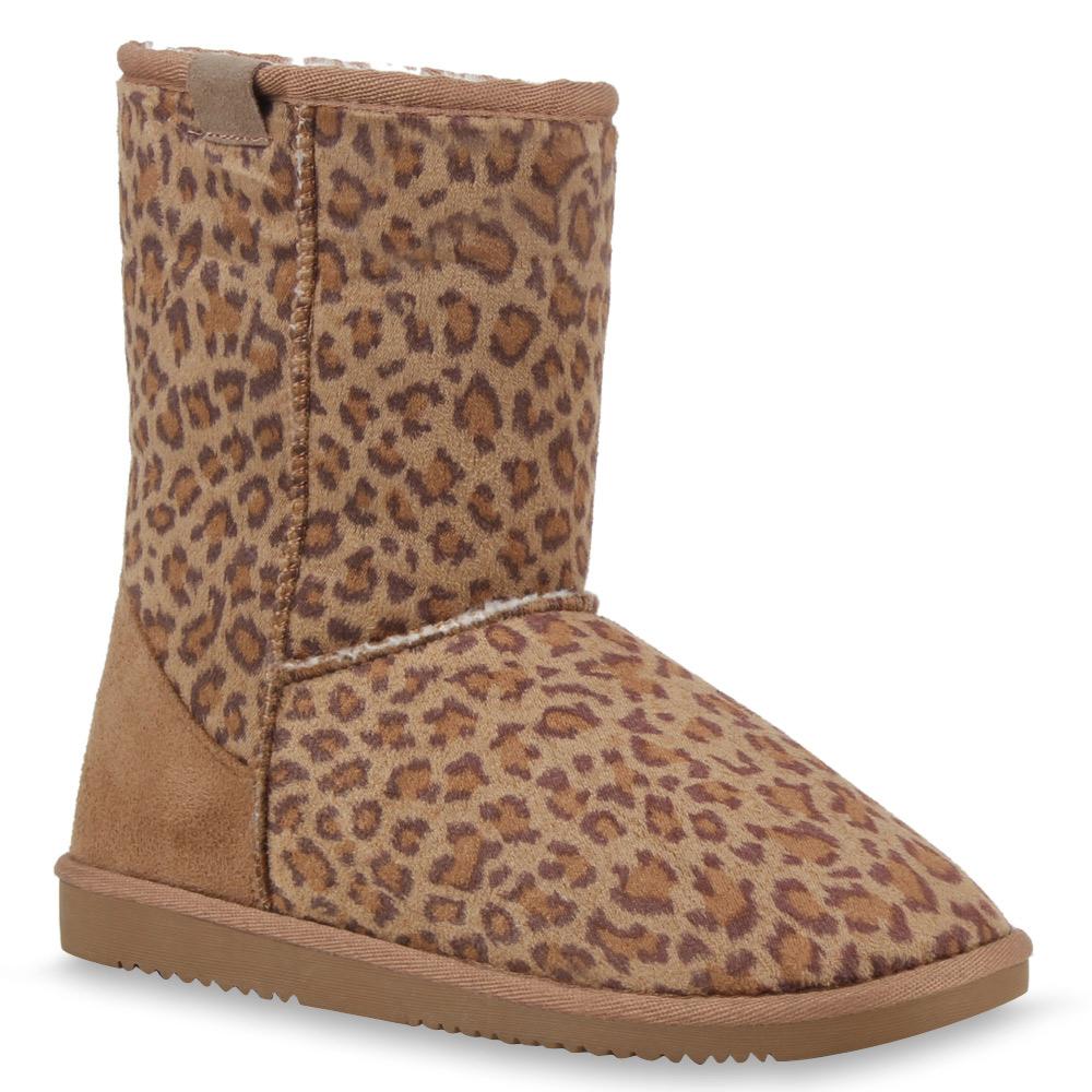 Damen Stiefeletten Schlupf Stiefel - Leopard