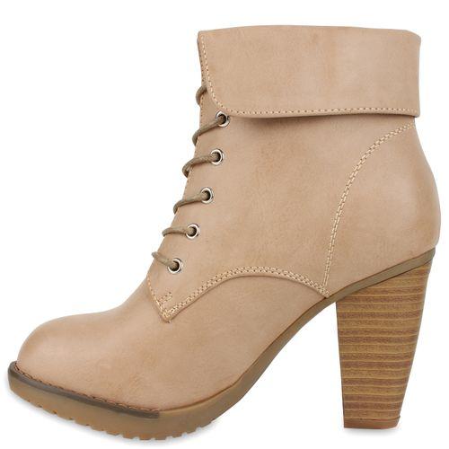 Damen Stiefeletten Schnürstiefeletten - Khaki