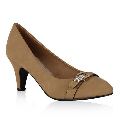 Damen Pumps High Heels - Hellbraun