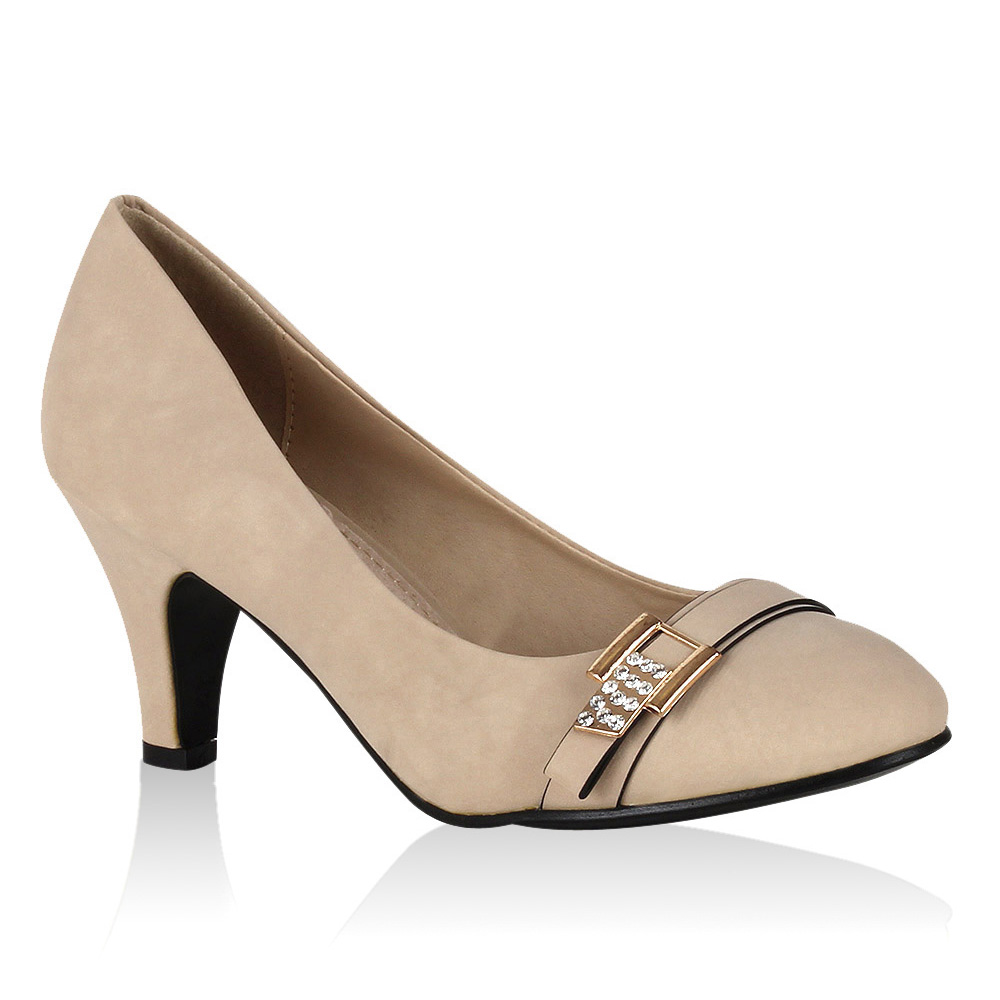 Damen Pumps High Heels - Creme