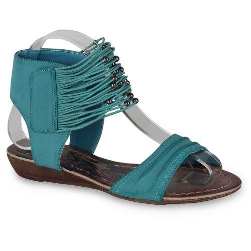 Damen Sandaletten Ankle Boots - Türkis