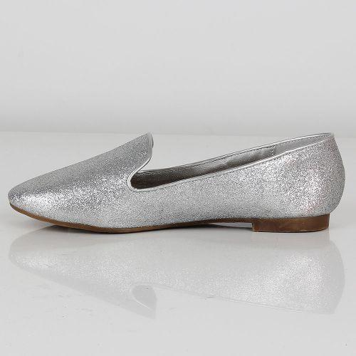 Damen Ballerinas Loafers - Silber