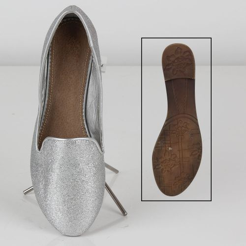 Damen Ballerinas Loafers - Silber