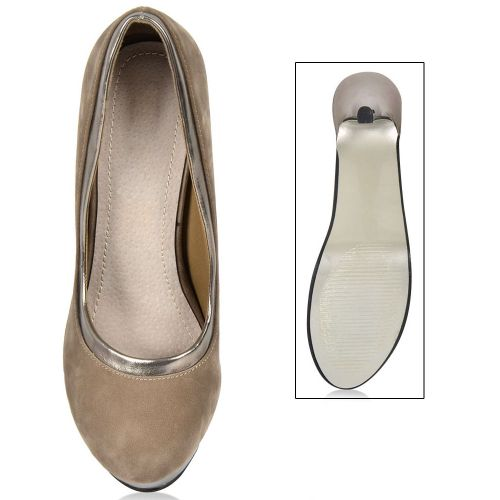 Damen Plateau Pumps - Khaki