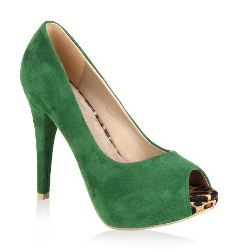 Damen Pumps High Heels - Grün