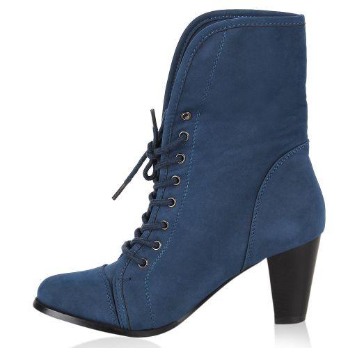 Damen Stiefeletten Ankle Boots - Dunkelblau