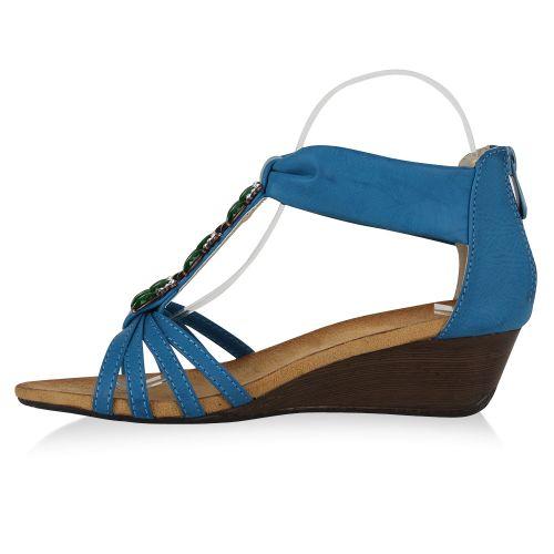 Damen Sandaletten Keilsandaletten - Blau