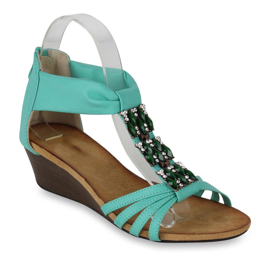 Damen Sandaletten Keilsandaletten - Hellgrün