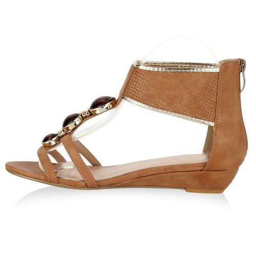 Damen Sandaletten Ankle Boots - Hellbraun