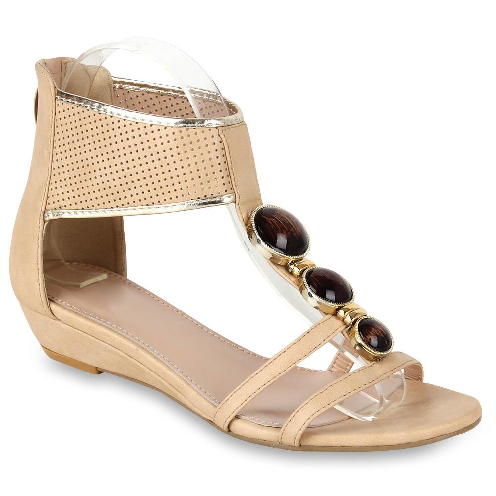 Damen Sandaletten Ankle Boots - Beige