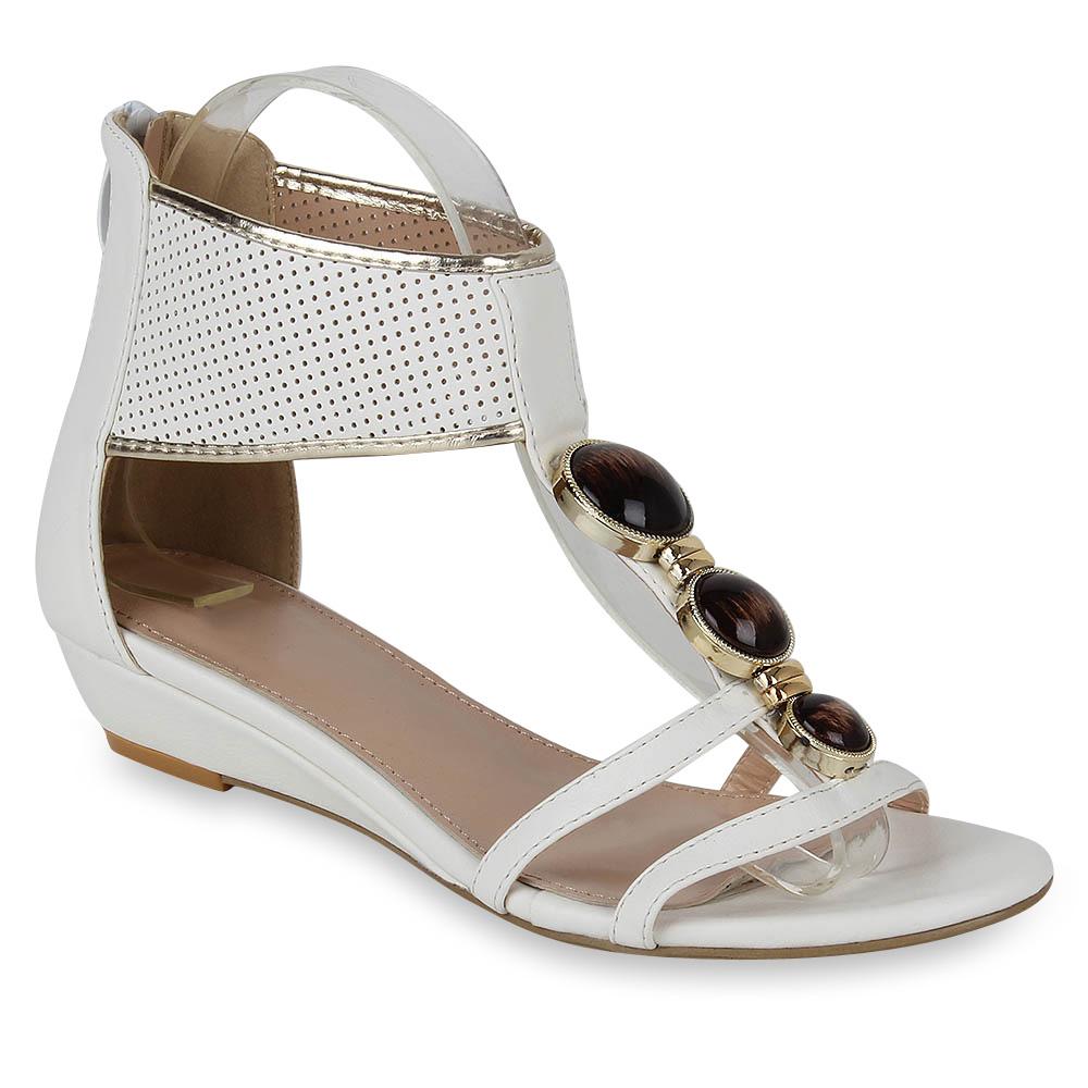 Damen Sandaletten Ankle Boots - Weiß