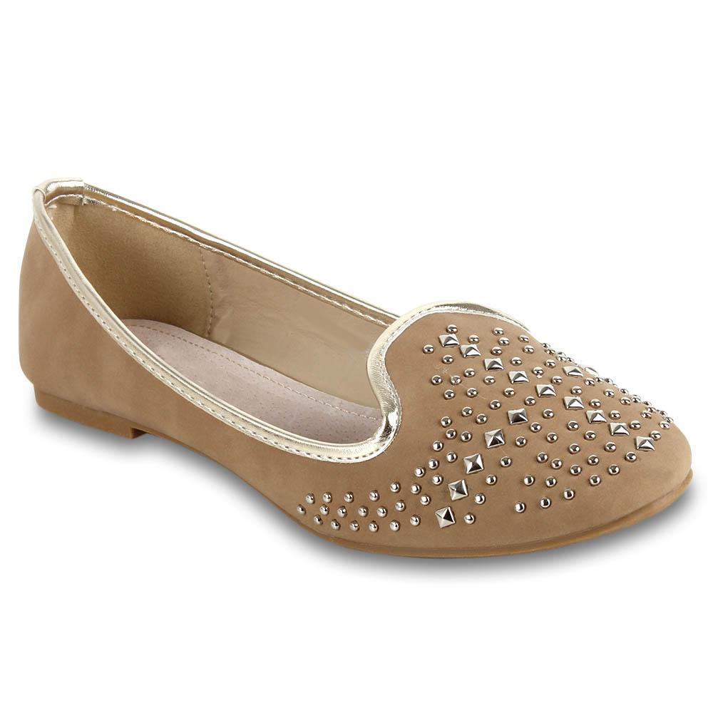 Damen Ballerinas Loafers - Khaki