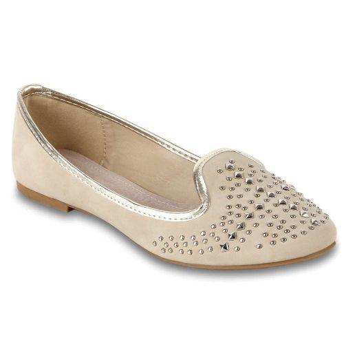 Damen Ballerinas Loafers - Creme