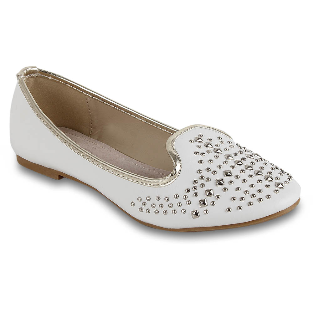 Damen Ballerinas Loafers - Weiß