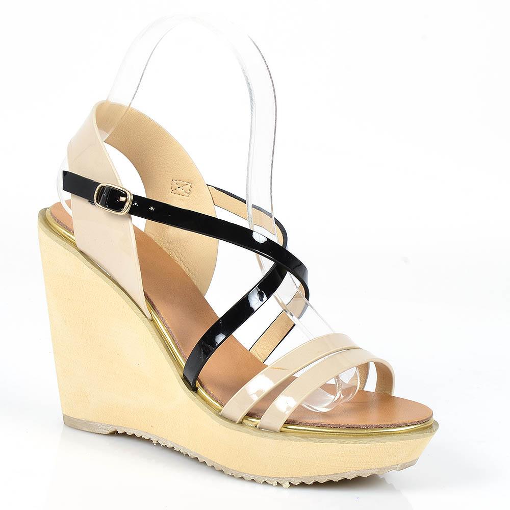 Damen Sandaletten High Heels - Creme