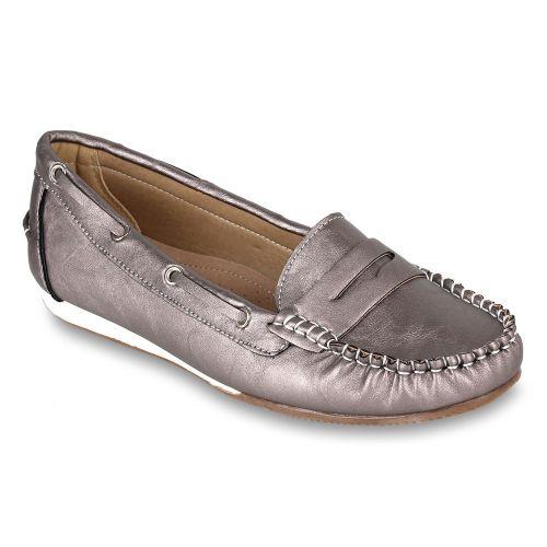 Damen Ballerinas Loafers - Grau