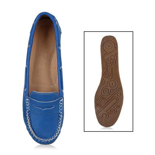 Damen Ballerinas Loafers - Blau